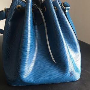 Authentic Louis Vuitton blue EPI Petit Noe